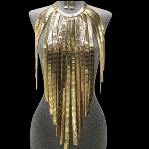 Jewelry - Long Gold Bib Fringe Metal Statement Necklace